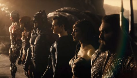 (Left to Right) Cyborg (Ray Fisher), The Flash (Ezra Miller), Batman (Ben Afflceck), Superman (Henry Cavill), Wonder Woman (Gal Gadot), and Aquaman (Jason Mamoa) in Zack Snyder's Justice League.