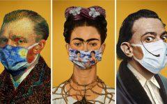 - Famous artists Vincent van Gogh, Frida Kahlo, and Salvatore Dali depicted wearing masks, based on their art.