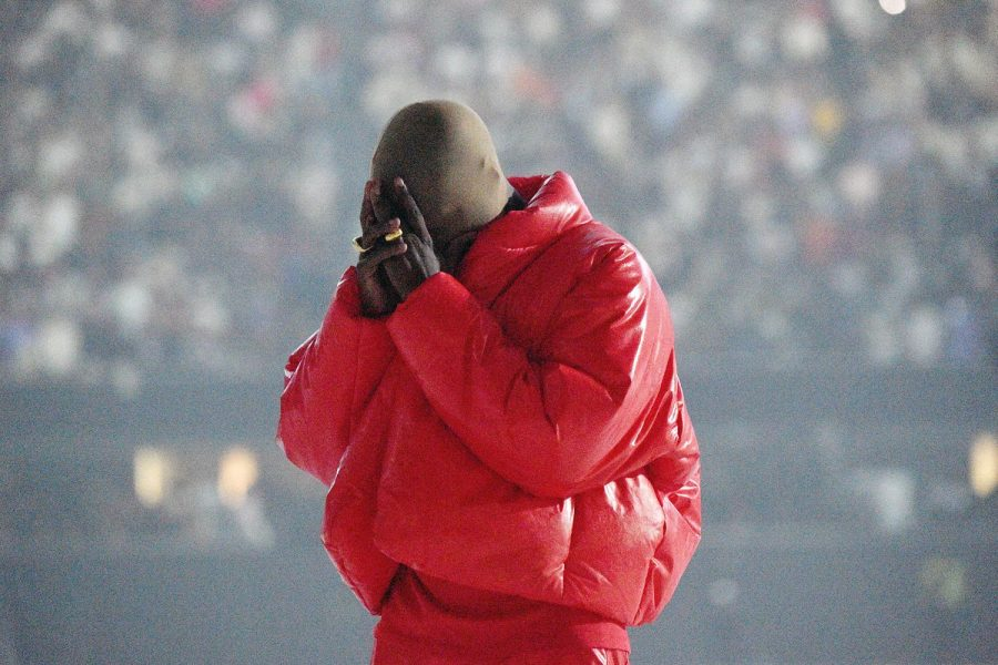 Kanye West at the first Donda listening party at Mercedes-Benz Stadium.
